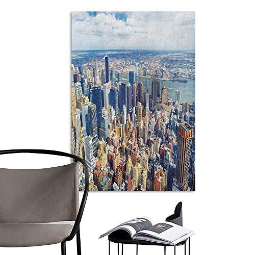 3D Murals Stickers Wall Decals Modern Aerial View of Manhattan Skyline High Skyscrapers Business Center USA Landscape Pale Blue Grey Office Fashion W20 x -