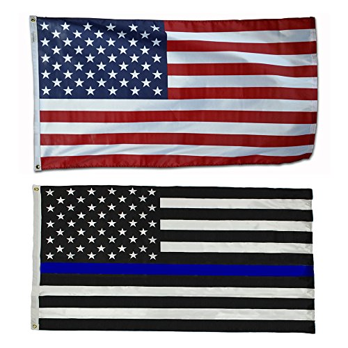 34″ x 60″ US Flag & 3′ x 5′ US Thin Blue Line Police Flag – Ultra Knit Polyester – 100% American Made