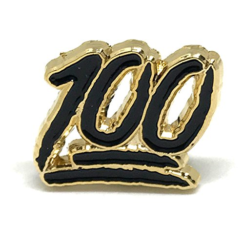 PinMaze Collections Keep It Real - 100 One Hundred Emoji - Perfect Score School Exam Enamel Pin Set (One Hundred Black Gold)