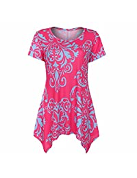 Yunchuang Women's Summer Cold Shoulder Tunic Top Swing T-Shirt Loose Dress with Pockets C