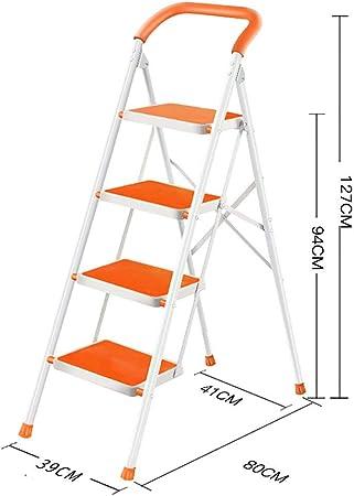 Giow Escaleras de Tijera 4 escalones Antideslizantes Ligeros Plata Escalera de Mano Escalera Plegable Multiusos - Escalera Escalera Plegable luz Escalera Multiusos Escaleras (Color: Naranja): Amazon.es: Hogar