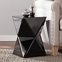 Upton Home Jordan Black Mirrored Accent Table