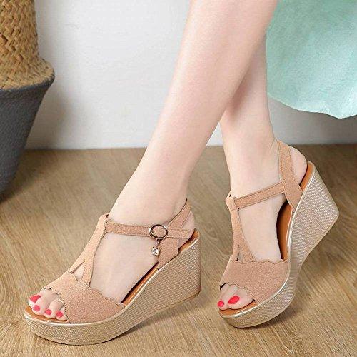 Mujer Moda Zapatos Sandalias Pendiente Cabeza Ocasionales Redonda de Piel Sandalias de Adulto Vaca con Tac Mujer de wAqRxF4S