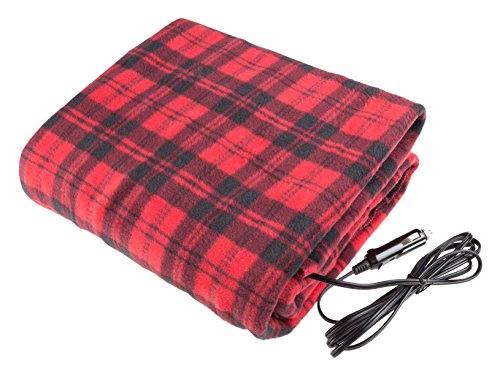 Electric Car Blanket- Heated 12 Volt Fleece Travel Throw for Car and RV-Great for Cold Weather, Tailgating, and Emergency Kits by Stalwart-RED/BLACK
