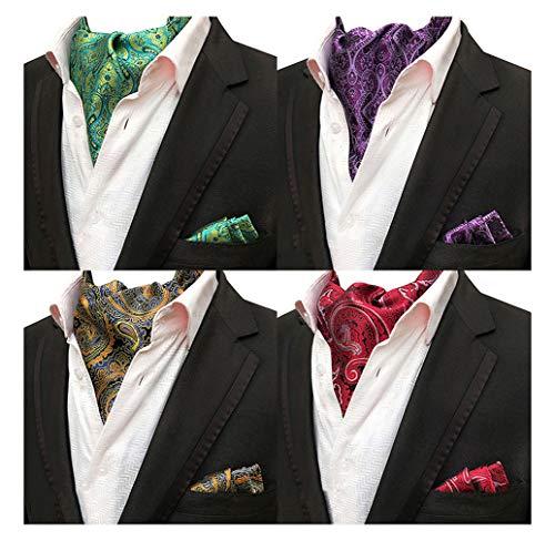 Mens 4 Pcs Wedding Floral Cravat Ascot Scarf Tie Neckties Pocket Square Set of - Square Pocket Scarf