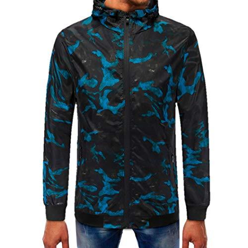 kaifongfu Hooded Top,Men's Camouflage Zipper Long Sleeve Pullover Top Sweater Men Blouse(Blue,XXL) ()