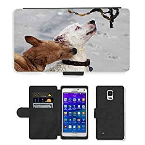 Super Stella Cell Phone Card Slot PU Leather Wallet Case // M00421850 Dogs Batons Play Bite Romp Beach // Samsung Galaxy Note 4 IV