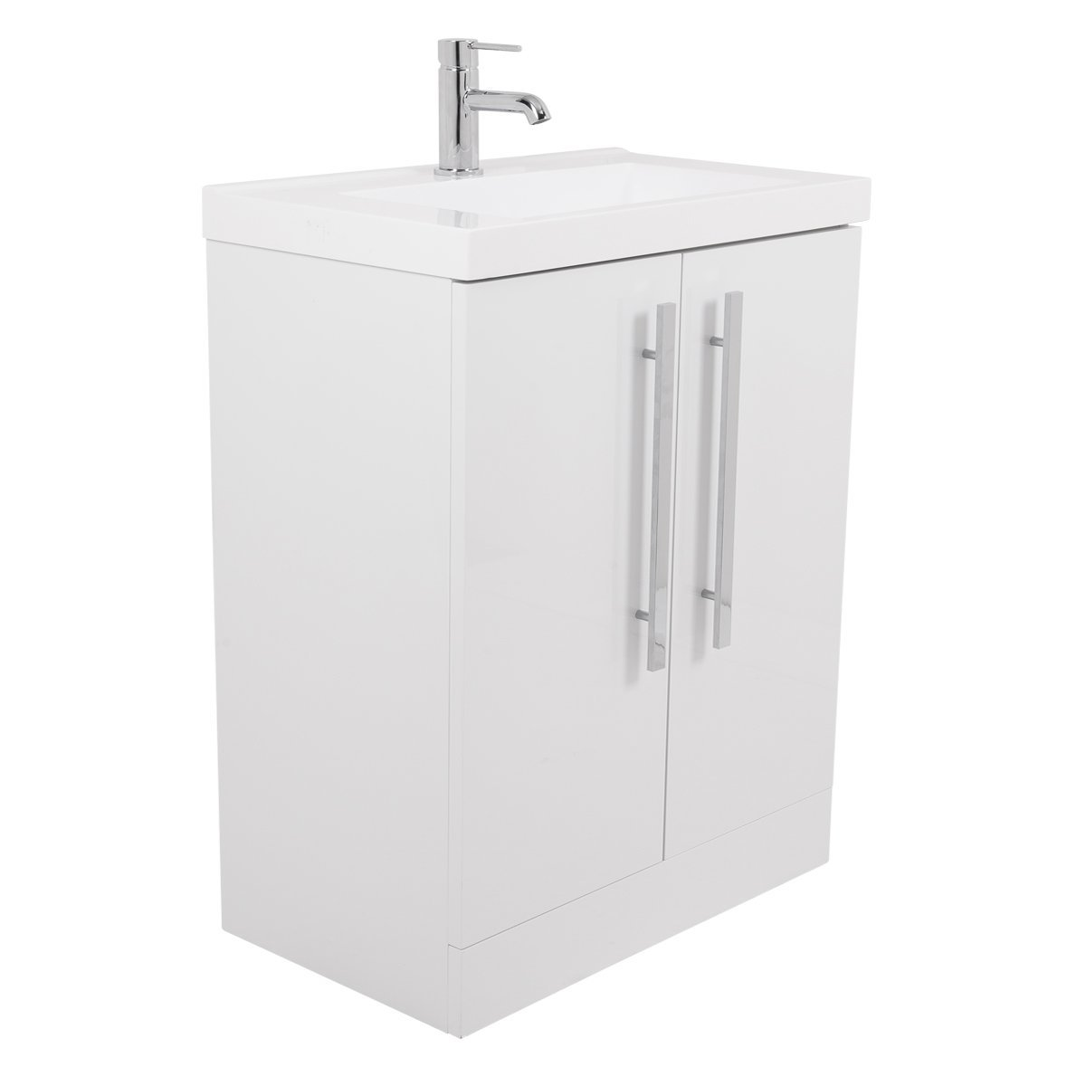 Aquariss Contemporary 600mm Floor Standing Bathroom Vanity Unit & Basin with FREE Mirror- White