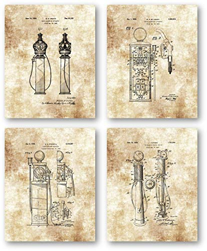 Ramini Brands Original Gas Pumps Patent Artwork - Set of 4 8 x 10 Unframed Prints - Great Gift for Auto Mechanics and Collectors - Vintage Gas Station, Dealership or Auto Shop Decor