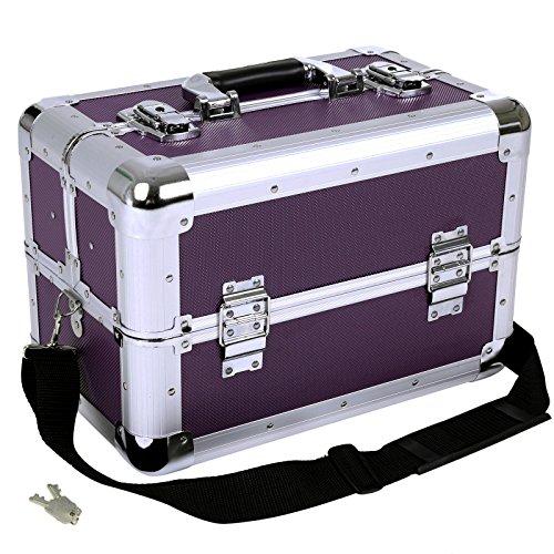 Songmics® Kosmetikkoffer XXL groß für Gepäck 36,5 x 22 x 25 cm Alu, Lila JBC228P