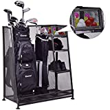 Tangkula Golf Organizer Durable Metal Storage Rack Golf Club Bag and Sports Equipment Organizer