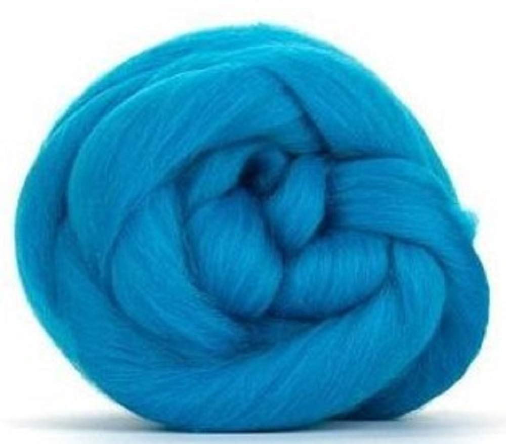 4 oz Paradise Fibers 64 Count Dyed Turquoise (Blue) Merino Top Spinning Fiber Luxuriously Soft Wool Top Roving for Spinning with Spindle or Wheel, Felting, Blending and Weaving