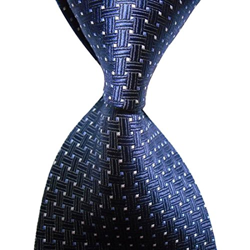 KissTies Navy Blue Tie Cross Pattern Necktie + Gift ()
