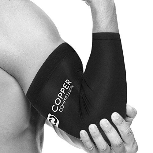 Copper Compression Recovery Elbow Sleeve - Highest Copper Content Elbow Brace / Support. For Workouts, Golfers And Tennis Elbow, Arthritis, Tendonitis. Copper Infused Fit - Wear Anywhere. (Medium) (Tennis Merchandise)