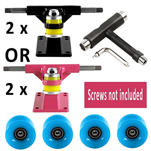 Penny Style Skateboard Set Of 2 Black Trucks And Penny Board Blue Wheels Set Of 4 ABEC 9 Bearings Mounted Plus Black T-Tool