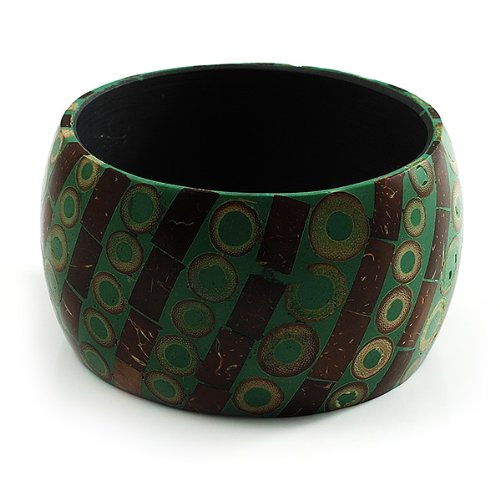 Green /& Brown Avalaya Wide Patterned Shell Bangle