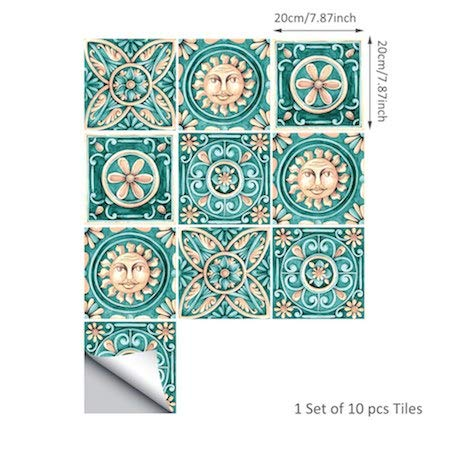 Art Wall Decals - Italy Majolica Tiles Sticker,Art Decal for Wall Furniture,Waterproof Self Adhesive for Bathroom Kitchen Home Decor ()