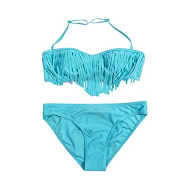 e579ba9f90 Maillot de Bain 2 Pièces Fille - Sunenjoy Princesse Ensemble Bikini Halter  Top Gland + Shorts