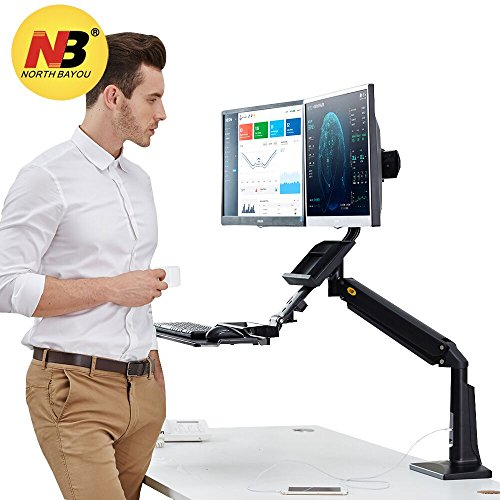 Adjustable Dual Height Stand (North Bayou Sit Stand Desk Converter Height Adjustable Standing Desk Workstation Two Screens up to 24'' 33lbs Computer Monitor Mount Arm Keyboard Tray)