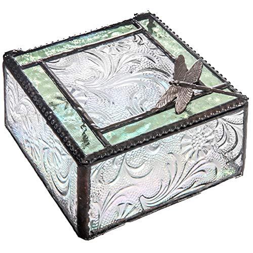 J Devlin Box 141 Dragonfly Trinket Box Green Stained Glass Decorative Keepsake Box