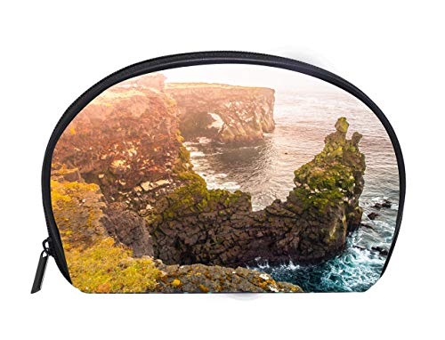 smetic Bag Londrangar rock lava formation in the sea Eroded basalt cliffs in the wild sea at coastline on Ladies Travel Convenience Small Wash Bag Storage Bag ()