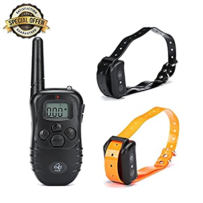 FGN Exclusive Rechargeable Waterproof Training Collar for Dogs-2 High Quality Durable Wireless Collars for Medium and Large Dogs-shocks, Vibrations, Light & Safe Beeps - Remote Control Operations
