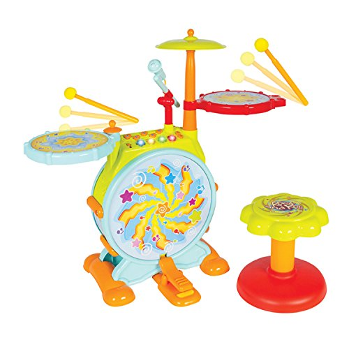 DanPanda Big Toy Drum Set For Kids With Microphone  Educational Musical Instrument Playset For Toddlers, Includes Drumsticks, Bass Drum & Pedal, Colorful, Fun & Stimulating Music Kit For Toddlers