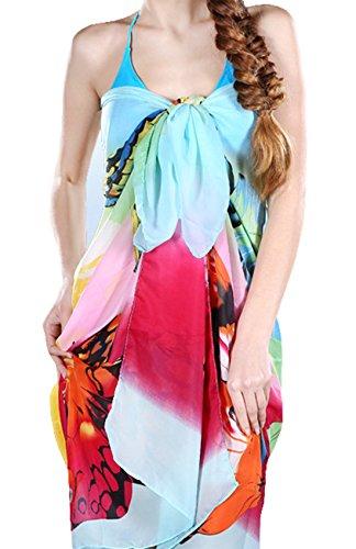 UK_Stone Damen Bunt Schmetterling Pattern Sarong Pareo Strandtuch Wickeltuch Bikini Sonnenschutz Decke Cover-up