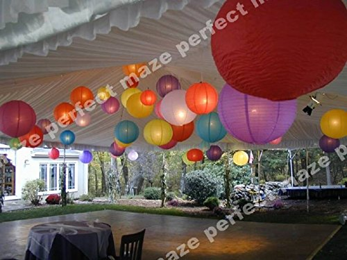 Perfectmaze 12 Piece Round Chinese Paper Lantern With LEDs for Wedding, Parties, Engagements, Baby Showers, and Special Events Decoration 4 Sizes / 20 Colors+ (12'' (Inch), Ivory) by Perfect Maze
