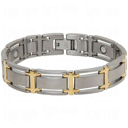 - Sabona Men's Executive Symmetry Duet Magnetic Bracelet Silver Large