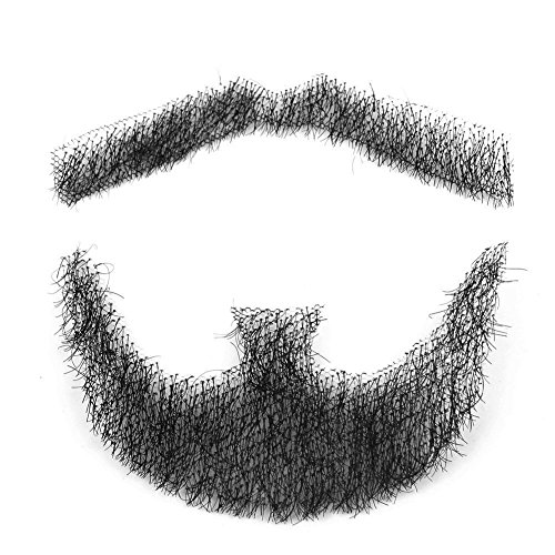 100% Human Hair Fake Men's Man Beard Makeup Mustache for Costume And Party Cosplay (Black) ()