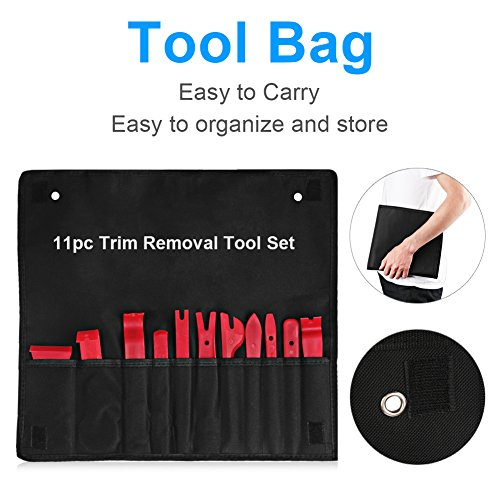 13Pcs Auto Trim and Panel Removal Tool Set Body Door Window Molding Upholstery Fastener Clips Removal Tool Kit with Storage Bag Strong Nylon Material -2 Fastener Removers Included VANJING (Red, 13Pcs) by VANJING (Image #3)'