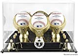 Texas Rangers Golden Classic Three Baseball Logo Display Case - Mounted Memories