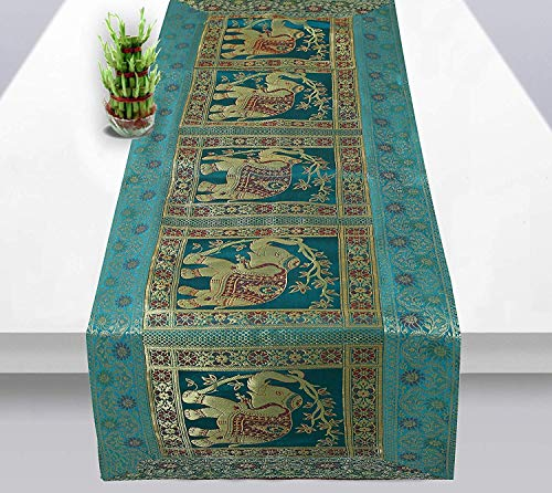 (Real Online Seller Indian Rectangle Hand Art Elephant Good Luck Silk Table Runner 60 x 16 Inch Golden Color Table Cloth )
