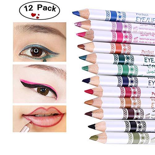 Shouhengda 12pcs/set Glitter Eyeshadow Pen Waterproof Colorful Eye Liner Pencil Lip Eyeliner Shimmer Nude Makeup - Shadow Glitters Pencil