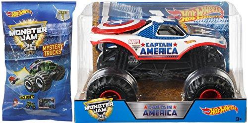 Captain America Monster Jam Hot Wheels 1:24 Scale Marvel 2017 & Mystery Blind Bag Mini Monster Truck with Launcher