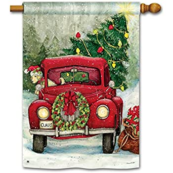 bringing the christmas tree home in the old red truck 28 x 40 outdoor