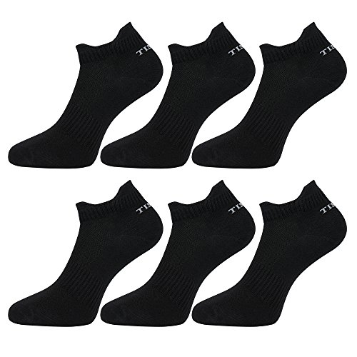 Tisoks 6 Pairs Black Mens and Womens Titanium Anti Odor Antifungal Sports Ankle Socks Antibacterial for Athletes Feet