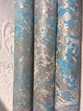 PAINTED PAPERS-Gift Wrap/Aqua/Gray/Silver
