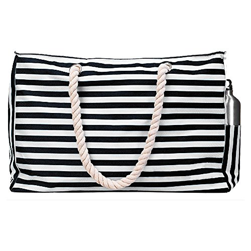 Stripe Large Tote - Beach Bag Tote XL (HUGE) with Zipper and Pockets. Removable 100% Waterproof Phone Case, Cotton Rope Handles, Extra Outside Pocket, Built-In Key-hold, Bottle Opener. Striped and Durable(Black&white)