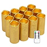 Eldnacele Flameless Candles Flickering Real Wax Battery Operated LED Pillar Gold Coated Candles Set of 12(D2.2 X H5) Pillar Candles Warm White Light with Remote Control and Timer for Decoration