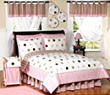Sweet Jojo Designs 4-Piece Pink and Brown Modern Dots Children's Bedding Girls Twin Set