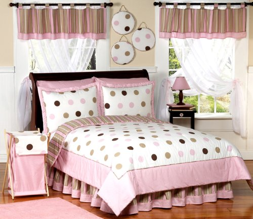 Pink and Brown Modern Dots Childrens Bedding 4 Piece Girls Twin Set