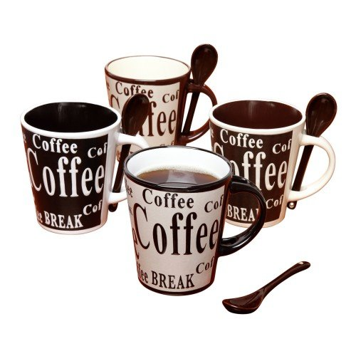 Coffee Cup set by Mr. Coffee Dual Tone Coffee Mugs Set with spoons Stoneware coffee cups  Assorted Designs, 8 pcs set, Cafe Bareggio (Design 12 Oz Ceramic Mug)