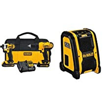 DEWALT DCR006 Jobsite Bluetooth Speaker & DEWALT 20-Volt Max Compact Lithium-Ion Cordless Combo Drill Kit