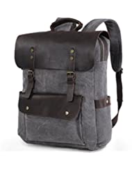 Lifewit 17 inch Canvas Laptop Backpack Unisex Vintage Leather Casual School College Bags Hiking Travel Rucksack...