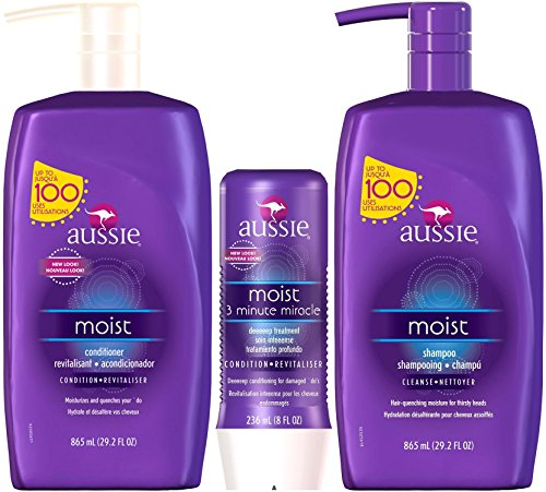 Aussie Moist Shampoo and Conditioner, 29.2 Ounce Pump Each, Plus 3 Minute Miracle Moist, 8 Ounce