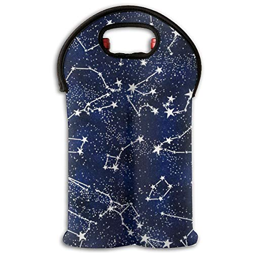 HEHE TAN Glow in The Dark Constellations Midnight Wine Tote Carrier Bag Bottle Wine Tote Bag/Beer/Cans/Champagne/Water Or Drink Bottle Bag(2-Bottle) for $<!--$14.69-->