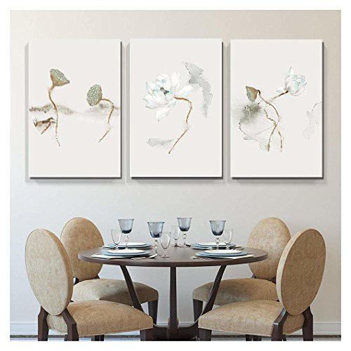 wall26 - 3 Panel Canvas Wall Art - Ink Painting Style Lotus and Lotus Seedpod - Giclee Print Gallery Wrap Modern Home Decor Ready to Hang - 16''x24'' x 3 Panels by wall26