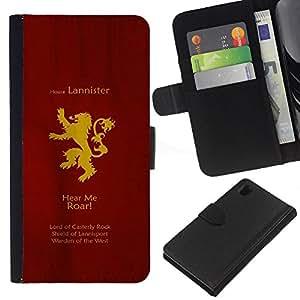 """A-type (Casa Lannister"""") Colorida Impresión Funda Cuero Monedero Caja Bolsa Cubierta Caja Piel Card Slots Para Sony Xperia Z1 L39"""